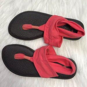 SANUK Yoga Mat Sling Sandals Coral Women's Size 6